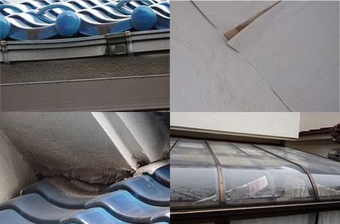 破損した屋根の画像